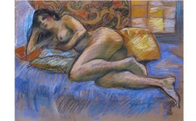 Nude on Lounging on Pillows
