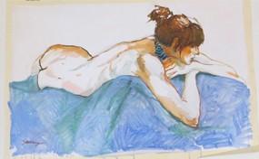 Nude on Blue